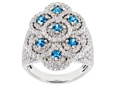 Blue & White Cubic Zirconia Rhodium Over Sterling Silver Cluster Ring 4.34CTW