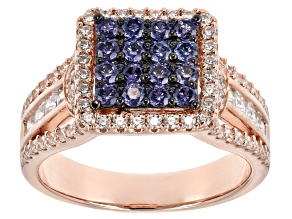 Blue And White Cubic Zirconia 18K Rose Gold Over Sterling Silver Ring 2.66CTW