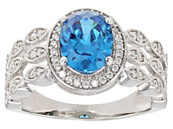 Picture of Blue and White Cubic Zirconia Rhodium Over Sterling Silver Ring 3.46CTW