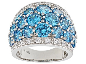 Blue And White Cubic Zirconia Rhodium Over Sterling Silver Ring 10.85CTW