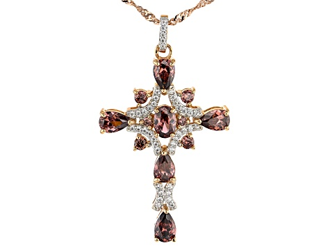 Blush And White Cubic Zirconia 18K Rose Gold Over Sterling Silver Cross Pendant With Chain 5.87ctw