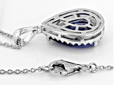 Blue Cubic Zirconia Rhodium Over Sterling Silver Pendant With Chain 4.56CTW