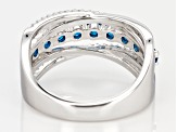 Blue And White Cubic Zirconia Rhodium Over Sterling Silver Ring 1.47CTW