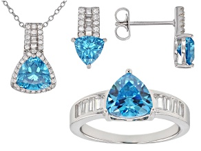 Blue & White Cubic Zirconia Rhodium Over Silver Center Design Ring,Earrings,&Pendant With Chain Set
