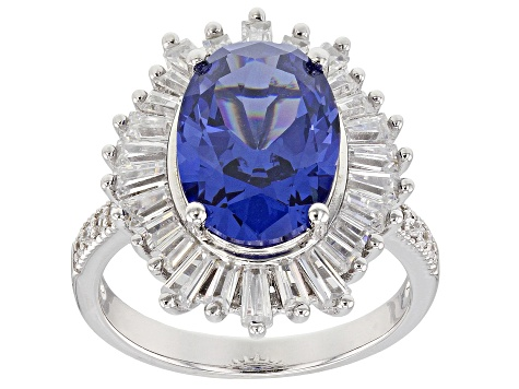 Blue And White Cubic Zirconia Rhodium Over Sterling Silver Ring 7.59CTW
