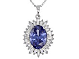 Blue And White Cubic Zirconia Rhodium Over Sterling Silver 7.59CTW