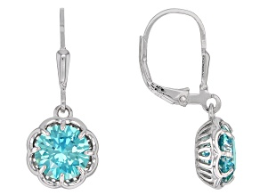 Blue Cubic Zirconia Rhodium Over Sterling Silver Earrings 6.70CTW