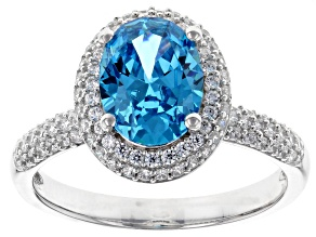Blue And White Cubic Zirconia Rhodium Over Sterling Silver Ring 4.19CTW