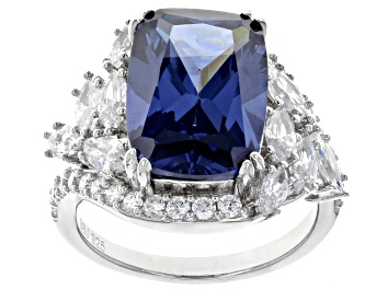 Picture of Blue And White Cubic Zirconia Rhodium Over Sterling Silver 14.59CTW