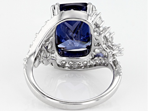 Blue And White Cubic Zirconia Rhodium Over Sterling Silver 14.59CTW