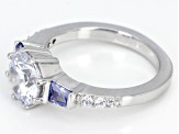 Blue And White Cubic Zirconia Rhodium Over Sterling Silver Ring 4.30CTW