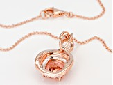 Morganite Simulant, Pink & White Cubic Zirconia 18K Rose Gold Over Silver Pendant With Chain 3.20CTW