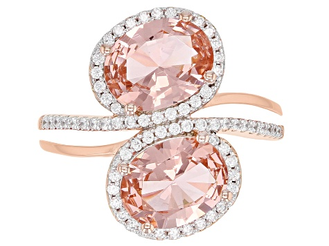 Morganite Simulant And White Cubic Zirconia 18K Rose Gold Over Sterling Silver Ring 3.94CTW