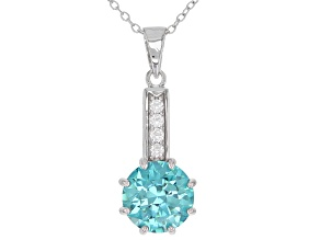 Blue And White Cubic Zirconia Rhodium Over Sterling Silver Pendant With Chain 7.51CTW