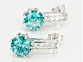 Blue And White Cubic Zirconia Rhodium Over Sterling Silver Earrings 7.20CTW