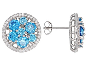 Blue And White Cubic Zirconia Rhodium Over Sterling Silver Earrings 9.80CTW