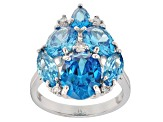 Blue And White Cubic Zirconia Rhodium Over Sterling Silver Ring 10.98CTW