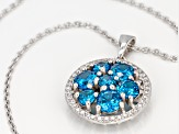 Blue And White Cubic Zirconia Rhodium Over Sterling Silver Pendant 6.25CTW