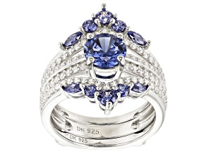 Blue And White Cubic Zirconia Rhodium Over Sterling Silver 4.19CTW
