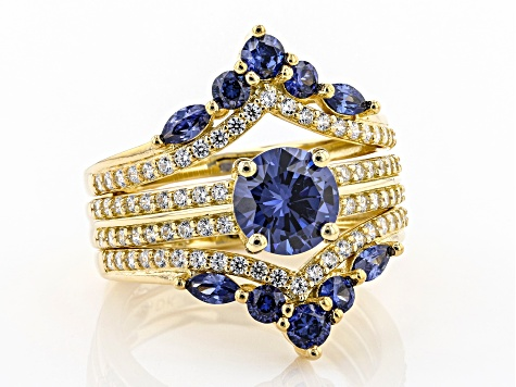 Blue And White Cubic Zirconia 18K Yellow Gold Over Sterling Silver 4.19CTW