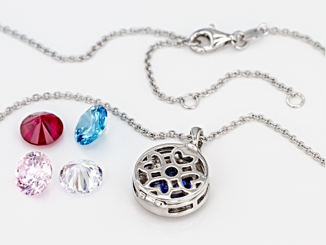 Lab Created Ruby, White, Blue, & Pink Cubic Zirconia Rhodium Over Silver Pendant With Chain 16.15CTW