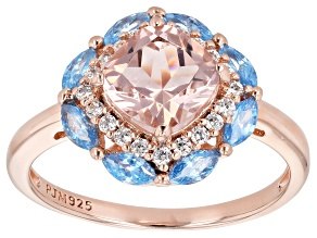 Morganite Simulant and Blue & White Cubic Zirconia 18K Rose Gold Over Sterling Silver Ring 2.50CTW