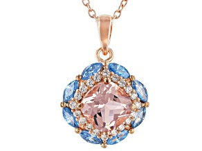 Morganite Simualnt, Aqua And White Cubic Zirconia 18K Rose Gold Over Silver Pendant W/Chain 2.50CTW