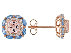 Morganite Simulant And Aqua & White Cubic Zirconia 18K Rose Gold Over Silver Earrings 2.76CTW