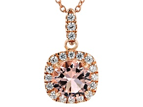 Morganite Simulant And White Cubic Zirconia 18K Rose Gold Over Silver Pendant With Chain 2.17CTW