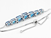 Blue Cubic Zirconia Rhodium Over Sterling Silver Adjustable Bracelet 18.20CTW