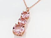 Morganite Simulant 18K Rose Gold Over Sterling Silver Pendant With Chain 9.12CTW