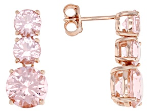 Morganite Simulant 18K Rose Gold Over Sterling Silver Earring 8.90CTW