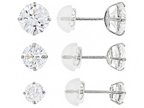 Womens Stud Earring Set White Cubic Zirconia 5ctw 10k Gold