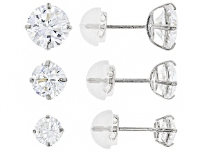 Womens Stud Earring Set White Cubic Zirconia 5ctw 10k White Gold