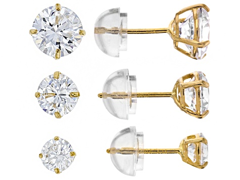 White Cubic Zirconia 10k Yellow Gold Stud Earrings Set Of 3.