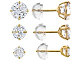 Womens Stud Earrings Set White Cubic Zirconia 5ctw 10k Yellow Gold