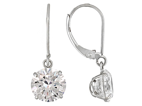 White Cubic Zirconia 10k White Gold Womens Solitaire Drop Earrings 6.80ctw