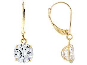 White Cubic Zirconia 8mm 10k Yellow Gold Womens Solitaire Drop Earrings  6.80ctw