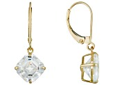 White Cubic Zirconia Square Asscher Cut 10k Yellow Gold Earrings 10.00ctw