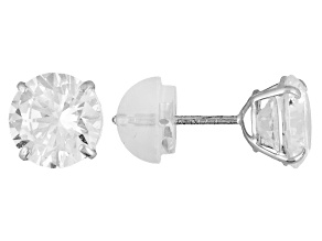 White Cubic Zirconia 10k White Gold Stud Earrings 2.86ctw