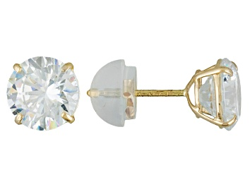 Picture of White Cubic Zirconia 10k Yellow Gold Stud Earrings 2.86ctw