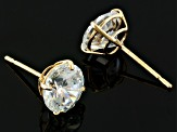 White Cubic Zirconia 10k Yellow Gold Stud Earrings 2.86ctw