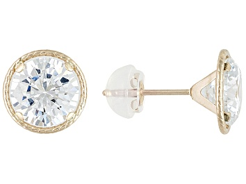 Picture of White Cubic Zirconia. 10k Yellow Gold Stud Earrings 4.34ctw