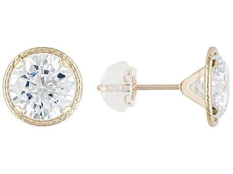 White Cubic Zirconia. 10k Yellow Gold Stud Earrings 4.34ctw