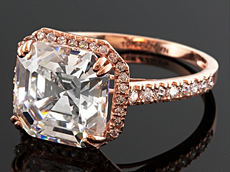Cubic Zirconia 10k Rose Gold Ring 7.18ctw