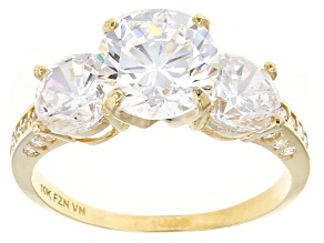 Cubic Zirconia 10k Yellow Gold Ring 6.61ctw