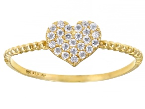 Cubic Zirconia 10k Yellow Gold Heart Ring .25ctw