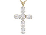 Cubic Zirconia 10k Yellow Gold Cross Pendant With Chain 4.38ctw
