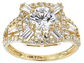 Cubic Zirconia 10k Yellow Gold Ring 3.83ctw