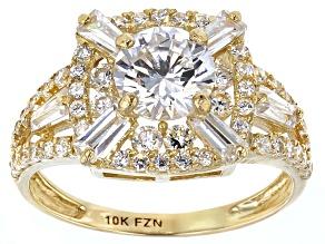 Cubic Zirconia 10k Yellow Gold Ring 3.83ctw